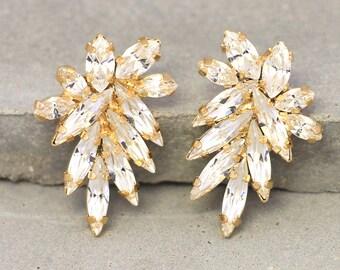 Crystal White Cluster Earrings,Swarovski Bridal Cluster Earrings,Bridal Swarovski Studs Earrings,Clear Crystal Bridal Cluster Earrings