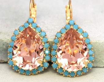 Blush Pink Earrings,Bridal Something Blue Jewelry,Swarovski Blush Pink Earrings,Blush Dangle Drop Earrings,Bridesmaids Crystal Earrings