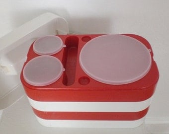 Vintage Picnic Lunch Box Set Ingrid Four Red and White Rectangular Plastic Lids Vintage Mid Century Housewares Chicago GallivantsVintage