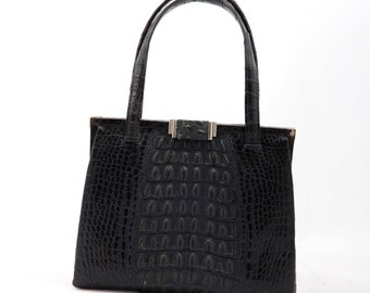 Black Crocodile vintage bag