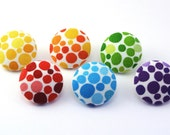 Pushpin / Thumbtack / Rainbow Color / Magnet  / Fabric Covered Button / Thumbtacks / Chromatics / Dots / Fabric Button / Flatback Button 119