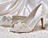 "Wedding Shoes - Custom 250 Color Choices- PBP  Vintage Wedding Lace Peep Toe 3"" Heels, Women's Bridal Shoes"