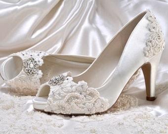 "Wedding Shoes - Custom 250 Color Choices- PBP  Vintage Wedding Lace Peep Toe 3"" Heels, Women's Bridal Shoes"