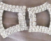 sparkly CRYSTAL rhinestone silvertone CLEAN unsigned lightly used SHOE clips