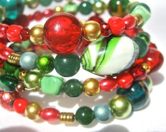 Red And Green Multistrand Memory Wire Bracelet, Christmas Style, Midcentury Modern Style