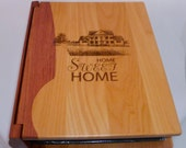 Photo Album Personalized with Digital Photo On Cover with Message holds 200 Photos Combo Maple & Rosewood