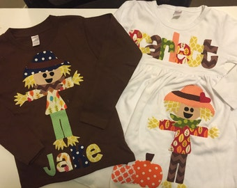 Scarecrow Fall  and Shirt Set - Personalized Fall Outfits - Great for Fall Photo Shoot or Family Pictures