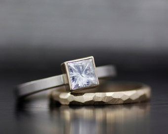 Engagement ring set - princess moissanite modern wedding band - alternative engagement ring - mixed metals square stone stacking - handmade