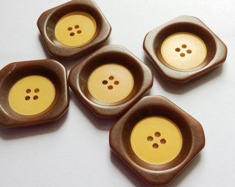 Vintage Bakelite Square Two Tone Buttons