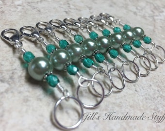 Green Knitting & Crochet Stitch Markers- Removable Progress Marker- Double Ended