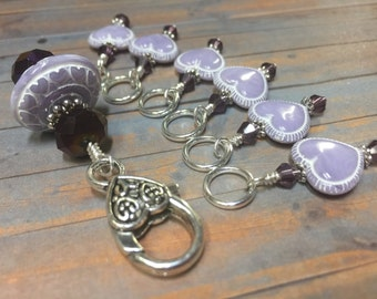 Lavender Stitch Marker Holder & Snag Free Heart Stitch Markers- Beaded Knitting Jewelry- Gift for Knitters- Knitting Accessories