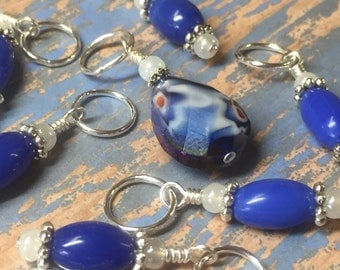 Knitting Stitch Markers- Blue Crystal Snag Free Beaded Marker Set- Gift for Knitters