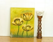 Mod Bold Floral Oil Painting Vintage Art Chartreuse & Lime Greens Fresh Spring Wall Art on Canvas Modern Decor