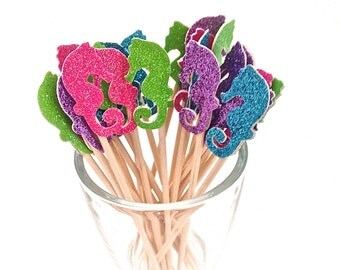 24 Purple,  Pink, Green, Blue, Glitter Seahorse Cupcake Topper - Food Pick - Party Pick