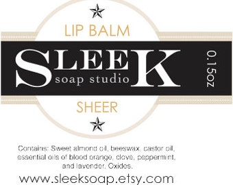 Sheer Lip Balm, Skincare, makeup, lip gloss, beeswax, blood orange, peppermint, clove, almond oil, lavender