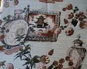 "Vintage 1960s Colorama Drapery Fabric Panel, Flowers, Vases, Gold Metallic Threads 85"" x 45"""