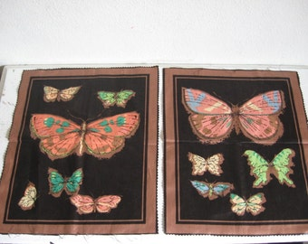 Two Butterfly Motif Fabric Panels From the 1950s