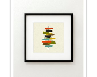 FOUNDATION Square Version - Giclee Print - Mid Century Modern Danish Modern Minimalist Cubist Modernist Abstract Eames