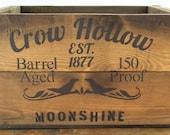 Handmade Vintage Style Moonshine Wood Crate Storage Box Shelf Cabin Decor