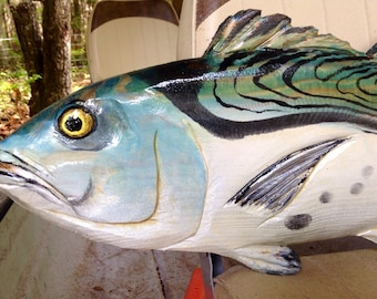 """Little Tunny 28"""" wooden fish art wall mount chainsaw carving indoor outdoor sportfishing beach home decor Ocean Arts False Albacore"""