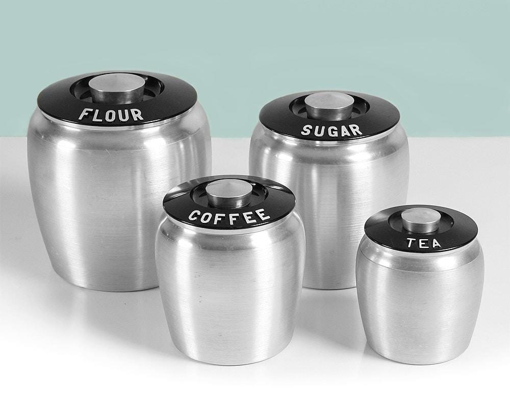 Pink Canister Set >> Vintage Kromex Canister Set / Flour Sugar Coffee Tea / Art