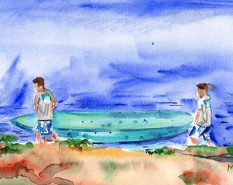 Surfing painting in watercolor of two boys carrying surfboard to the water