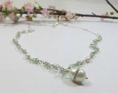 Aquamarine Pearl Necklace, Crystal Freshwater Pearl Poetry Necklace, Aquamarine w Crystal Set Freshwater Pearl Necklace w Sterling Silver