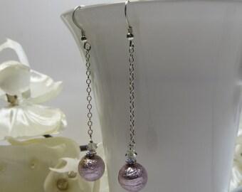Amethyst Murano Glass Earrings, Handmade Light Amethyst Silver Lined Murano / Venetian Glass Beads Earrings w Swarovski & Sterling Silver