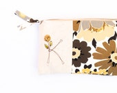 Personalized Clutch Purse Best Friend Birthday Gift Initial Monogram Bag Shades of Brown Autumn Colors, Letter K Gift under 50 MADE to ORDER
