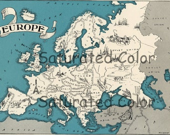 Europe Map ORIGINAL 1932 Vintage Picture Map Geography - Pictorial Fun Charming Antique Paul Spener Johst Whimsical England Italy France