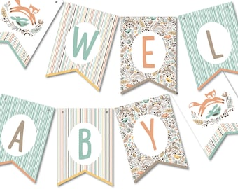 Bunting Banner Flags, Baby Shower Garland, Party Décor // WOODLAND WONDER