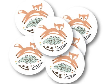 Circle Stickers, Baby Shower Party Decor, Favor Stickers, Party Décor // WOODLAND WONDER