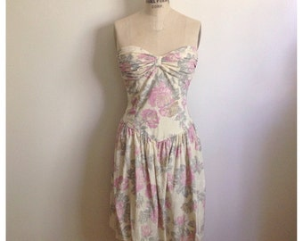 Vintage 1980s rose floral strapless summer dress