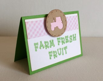 Tractor Birthday Food Labels - pink tractor / self standing / custom wording / set of 6