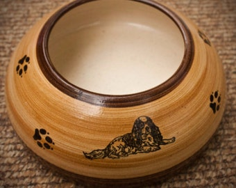Cavalier Spaniel, Tan and Brown Ear Bowl with Paws (Small)