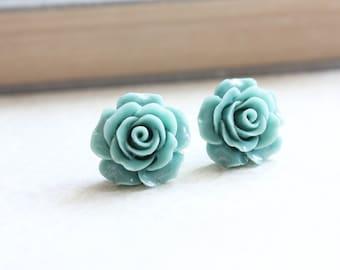 Big Rose Earrings Rose Stud Earrings Surgical Steel Post Earrings Bridal Jewelry Aqua Blue Green Flower Studs Earrings for Sensitive Ears