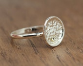 disc ring with tiny stone, silver plated