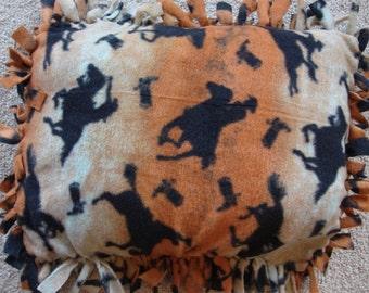 """Bronco Horse tied 12"""" x 16"""" fleece pillow"""