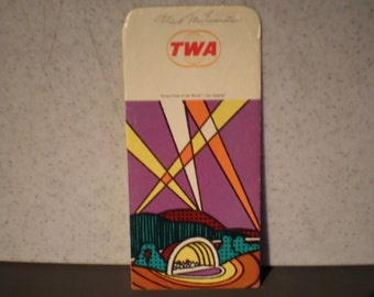 Vintage 1970's TWA -Trans World Airlines - Boarding Pass Holder - Los Angeles