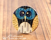 20% off -2Pcs 45mm Unique 3D Embossed Big Round Handmade Owl Wood Cut Cabochon  to make Necklaces, Bracelets-(WI-B-36)