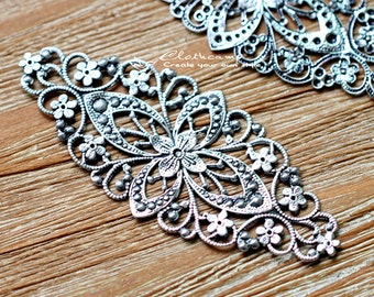 Antiqued Silver  plated RAW brass Filigree  Jewelry Connectors Setting Cab Base Connector Finding  (FILIG-AS-23)