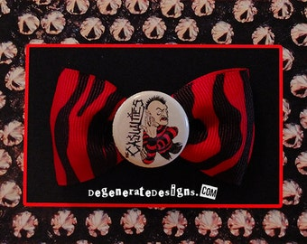 THE CASUALTIES Punk Hair Bow in Red Zebra Print