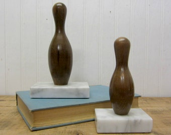 Set of Vintage Wood and Marble Bowling Pin Trophies Sports Theme Boys Room Man Cave Decor