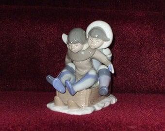 LLADRO Eskimo Boys on Sleigh Hang On #5665 Decorative Figurine From Spain 1989 Vintage Handmade