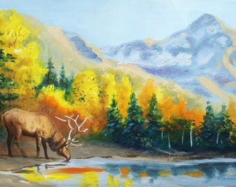 Elk painting by RUSTY RUST wildlife animal 24x36 oils on canvas / E-182