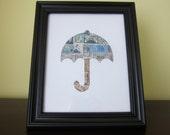 Postage Stamp Art - Umbrella - Used Postage Stamps - Framed Postage Stamp Art - Wall Art - Umbrella Art