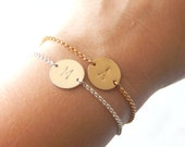 Personalized Disc Bracelet - 14k Gold Filled or Sterling Silver, Personalized Initial Bracelet, Minimalist Layering Jewelry, Gifts for Her