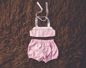 Cake Smash Outfit One Year Old Girl Bikini Cake Smash Set LIght Pink and White Flowers