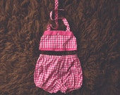 Cake Smash Outfit One Year Old Girl Bikini Cake Smash Set Dark Pink Gingham
