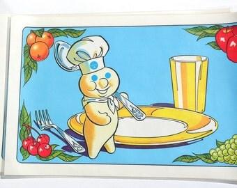 1970s Pillsbury Doughboy Place Mats Set of 4 10 x 16 inch Vinyl Poppin Fresh Dough Boy Advertising Collectible Retro Kitchen Decor Placemats